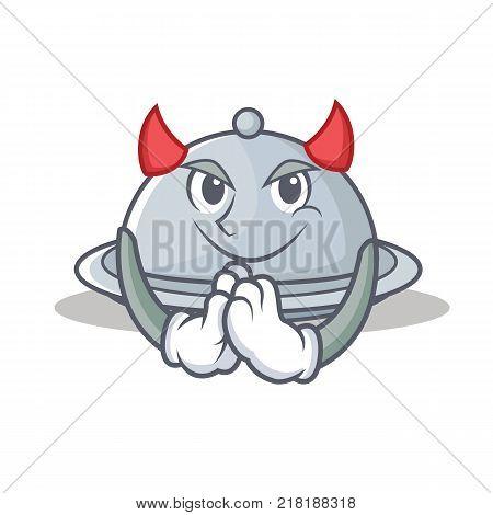 Devil tray character cartoon style vector illustration