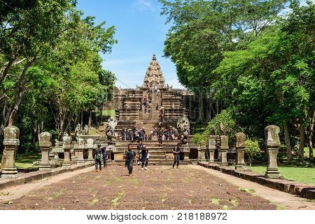Buriram Thailand - June 19 2017: Thai schoolchildren taking a study tour at Prasat Phanom Rung Historical Park which is a Khmer-style temple complex built in the 10th -13th century.