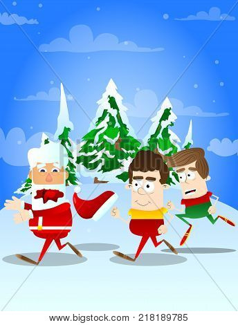 Santa Claus chased by kids. Vector cartoon character illustration.