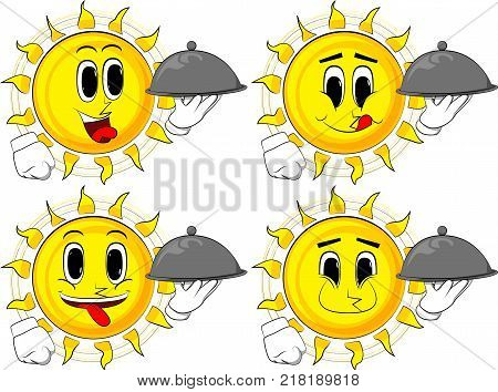 Cartoon sun holding silver cloche in hand. Collection with happy faces. Expressions vector set.