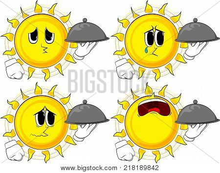 Cartoon sun holding silver cloche in hand. Collection with sad faces. Expressions vector set.