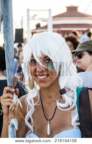 QUARTU S.E., ITALY - AUGUST 2, 2015: Beach Cosplay Party, costume parade held at the Marlin Club of Poetto beach - Sardinia