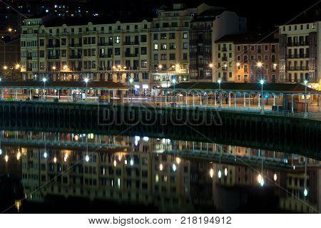 Bilbao Basque Country Spain cityscape at night. Horizontal shot