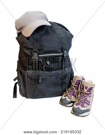 Black backpack cap and shoes backpackers isolated on white background
