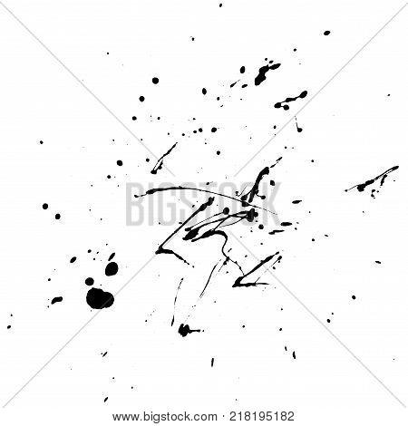 Black ink splash and drops on white background. Vector grunge illustration