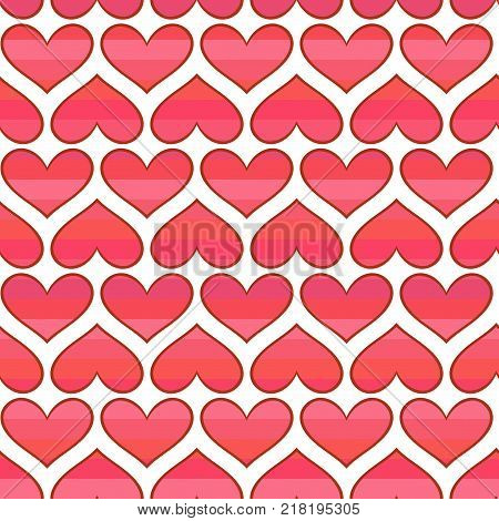 Vector seamless pattern with striped red hearts. Valentines day romantic background