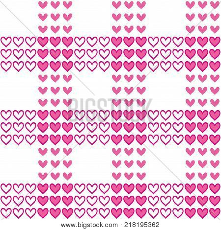 Vector seamless pattern with pink hearts like tartan. Valentines day romantic background