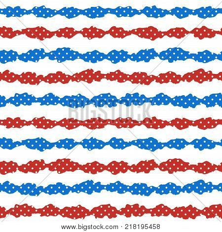 Vector seamless pattern with wavy rough blue and red stripes with white dots