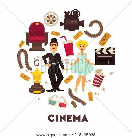 Retro cinema or movie time cinematography poster. Vector icons of filming clapboard, cinema ticket and 3D stereoscopic glasses, retro film reel camera, comedy actress and actor or popcorn and soda