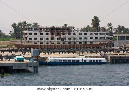 A shipyard on Nile river, Egypt