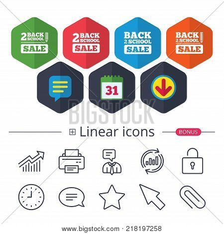 Calendar, Speech bubble and Download signs. Back to school sale icons. Studies after the holidays signs. Pencil symbol. Chat, Report graph line icons. More linear signs. Editable stroke. Vector