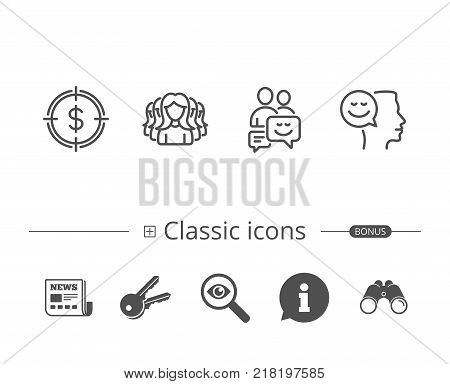 Group of people, Money target and Teamwork line icons. Analytics, Positive talk and Human communication symbols. Information speech bubble sign. And more signs. Editable stroke. Vector