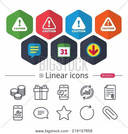 Calendar, Speech bubble and Download signs. Attention caution icons. Hazard warning symbols. Exclamation sign. Chat, Report graph line icons. More linear signs. Editable stroke. Vector