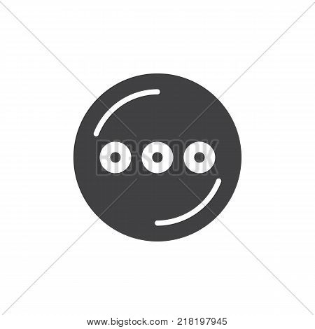 Circle with three dots simple icon, filled flat sign, solid glyph pictogram. App menu symbol, vector illustration