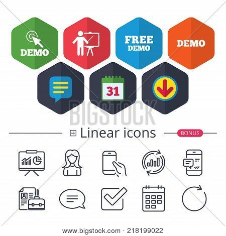 Calendar, Speech bubble and Download signs. Demo with cursor icon. Presentation billboard sign. Man standing with pointer symbol. Chat, Report graph line icons. More linear signs. Editable stroke