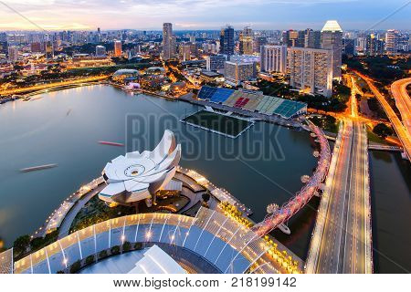 Top views skyline business building and financial district at Singapore City