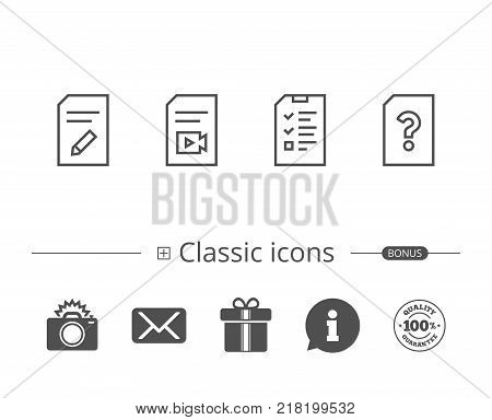 Document, Checklist and Edit file line icons. Document Management, Question mark and Video file signs. Information speech bubble sign. And more signs. Editable stroke. Vector