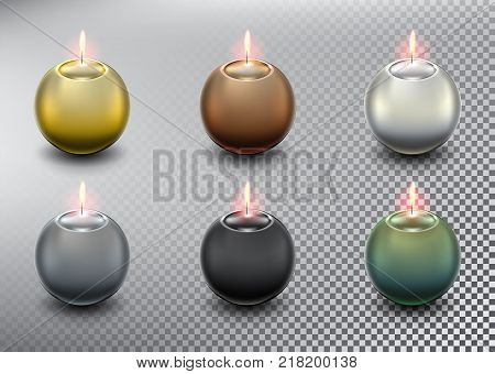 Set of 6 colorful vector ball candles. Spherical candles. Realistic and isolated with transparent burning flame and shadow on the white background. Vector illustration. Eps10.