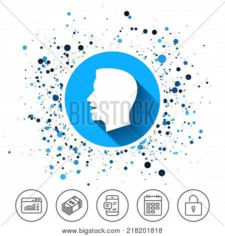 Button on circles background. Talk or speak icon. Loud noise symbol. Human talking sign. Calendar line icon. And more line signs. Random circles. Editable stroke. Vector