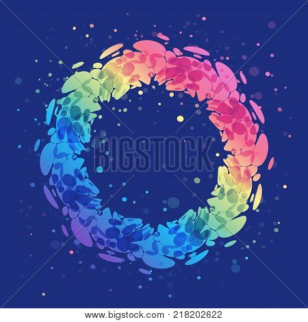 Abstract splash ring on blue background rounded shape design element