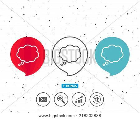 Speech bubbles with symbol. Comic Speech bubble line icon. Chat sign. Communication or Comment symbol. Bonus with different classic signs. Random circles background. Vector