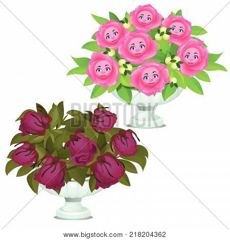 Live the smiling flowers with faces in the marble vase and wilted plants isolated on white background. Vector cartoon close-up illustration.