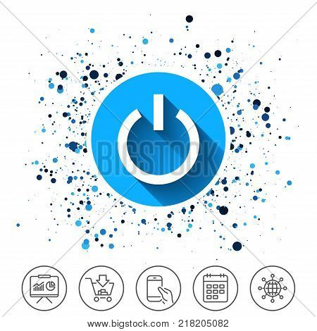 Button on circles background. Power sign icon. Switch on symbol. Turn on energy. Calendar line icon. And more line signs. Random circles. Editable stroke. Vector