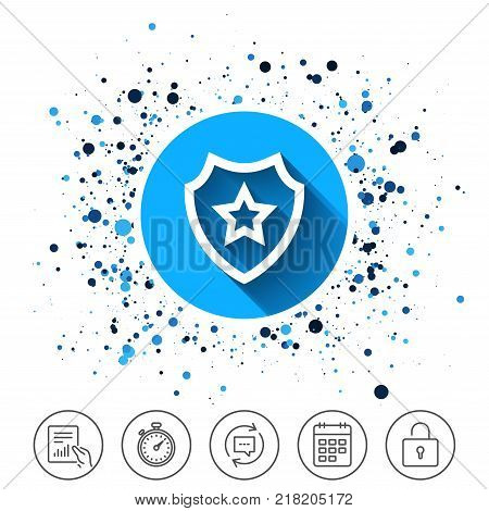 Button on circles background. Shield with star icon. Favorite protection symbol. Calendar line icon. And more line signs. Random circles. Editable stroke. Vector