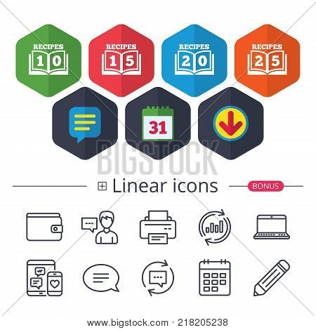 Calendar, Speech bubble and Download signs. Cookbook icons. 10, 15, 20 and 25 recipes book sign symbols. Chat, Report graph line icons. More linear signs. Editable stroke. Vector