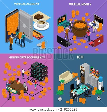 Isometric design concept with ico, virtual account and money, mining cryptocurrency isolated on color background vector illustration