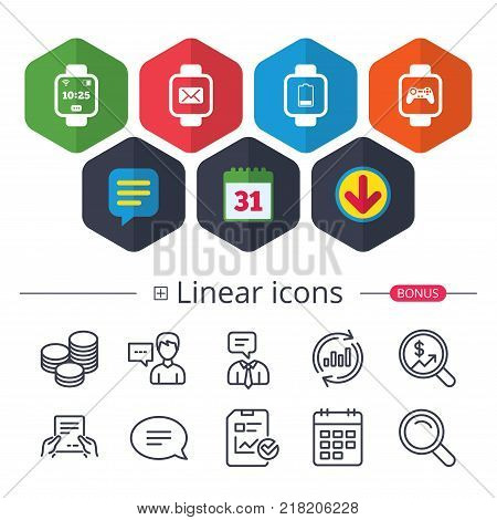 Calendar, Speech bubble and Download signs. Smart watch icons. Wrist digital time watch symbols. Mail, Game joystick and wi-fi signs. Chat, Report graph line icons. More linear signs. Editable stroke