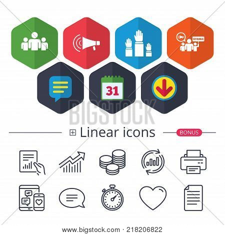 Calendar, Speech bubble and Download signs. Strike group of people icon. Megaphone loudspeaker sign. Election or voting symbol. Hands raised up. Chat, Report graph line icons. More linear signs
