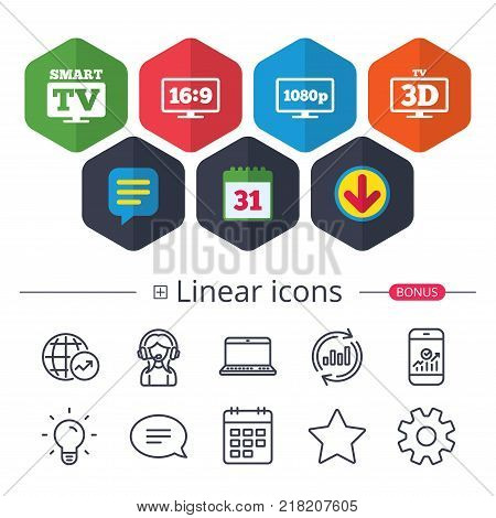 Calendar, Speech bubble and Download signs. Smart TV mode icon. Aspect ratio 16:9 widescreen symbol. Full hd 1080p resolution. 3D Television sign. Chat, Report graph line icons. More linear signs