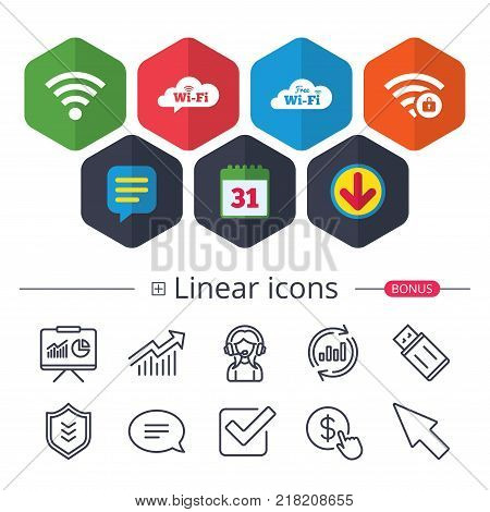 Calendar, Speech bubble and Download signs. Free Wifi Wireless Network cloud speech bubble icons. Wi-fi zone locked symbols. Password protected Wi-fi sign. Chat, Report graph line icons. Vector