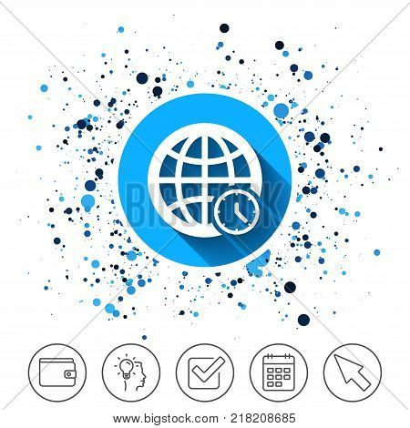 Button on circles background. World time sign icon. Universal time globe symbol. Calendar line icon. And more line signs. Random circles. Editable stroke. Vector