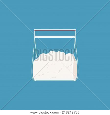 Cocaine plastic bag isolated. Drugs in sachet. Vector illustration