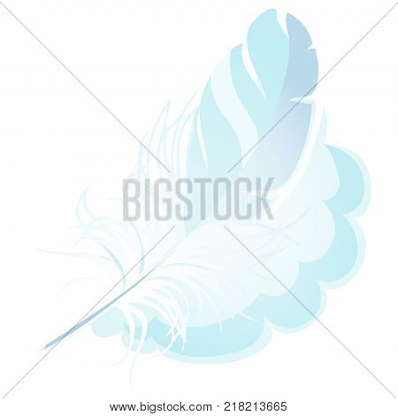 Downy bird fluffy feather isolated on white background. Vector cartoon close-up illustration.