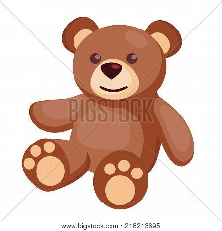 Vector cute teddy bear baby toy. Nice funny brown animal toy for kindergarten infant children. Kids education and development objects. Flat isolated illustration on white background.