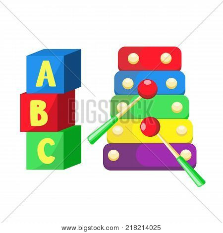 Boys and girls baby toys set in flat style. Plastic cubics with letters and rainboy colored xylophone. Kids education and development objects. Isolated vector illustration on a white background.