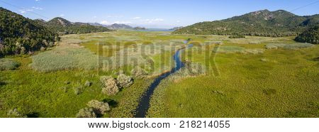 Aerial panorama of Skadar Lake in Montenegro at summer