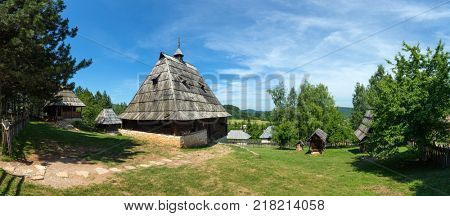 Panorama of old houses in ethno village Sirogojno in Zlatibor surroundings, Serbia
