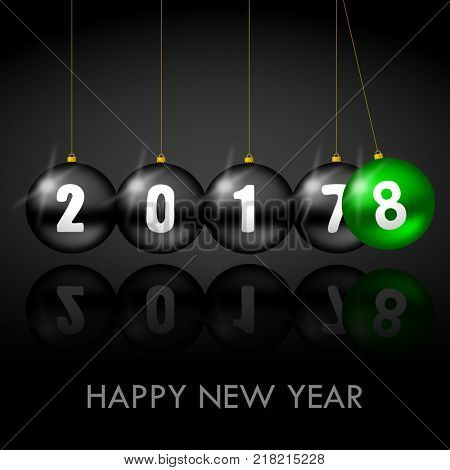 Happy New Year greeting card with Christmas balls on black background with text