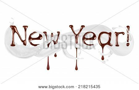 New Year written by liquid chocolate with milk splashes on white background.3D illustration