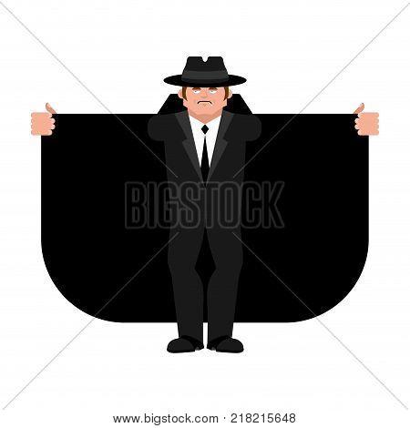Smuggler selling something. Cloak-seller isolated. Dealer in hat and coat . Bootlegger. Seller prohibited goods of black marke. Legitimate trade. Vector illustration