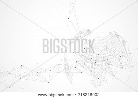 Virtual Graphic Background Communication with World Globe. A sense of science and technology. Digital data visualization. Vector illustration.