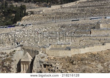 JERUSALEM, ISRAEL - 22 NOVEMBER 2017:Ancient Jewish cemetery in Jerusalem on the Mount of Olives