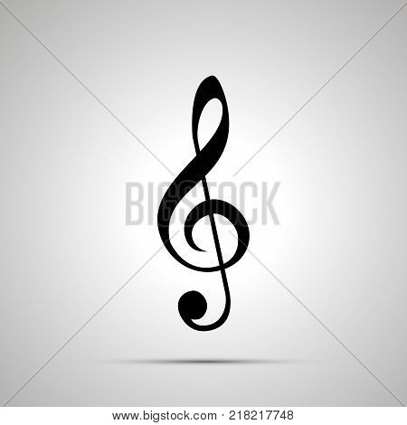 Treble clef silhouette, simple black icon with shadow