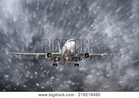 Airplane Approaching On A Landing In Snowstorm Bad Weather.