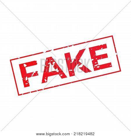 Fake grunge false red stamp illustration isolated on white background