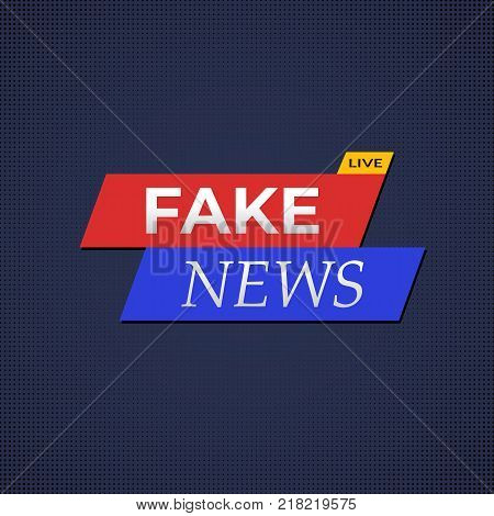 Fake news banner with live yellow label illustration